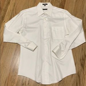 Sateen white long sleeve button down. Large. 16.